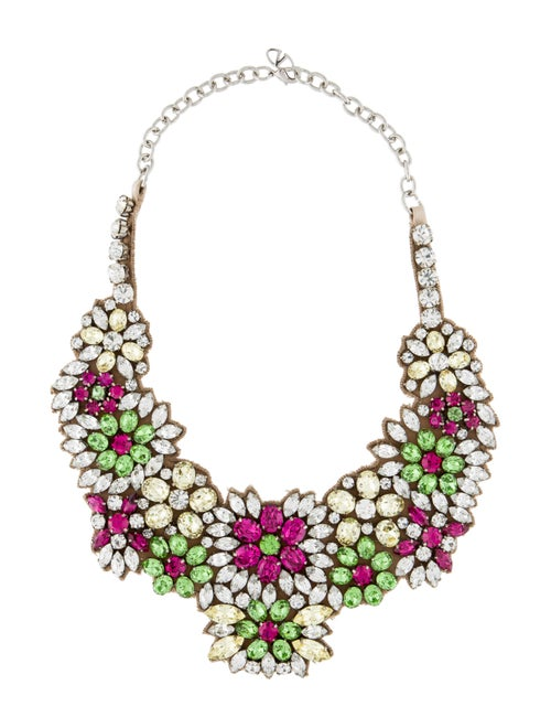 Valentino Crystal & Fabric Collar Necklace Silver