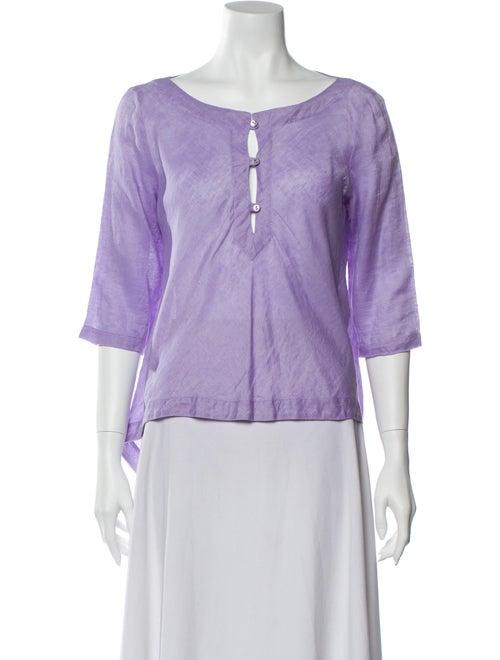 Valentino Linen Scoop Neck Blouse Purple