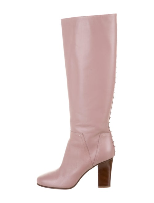 Valentino Rockstud Accents Leather Boots Pink