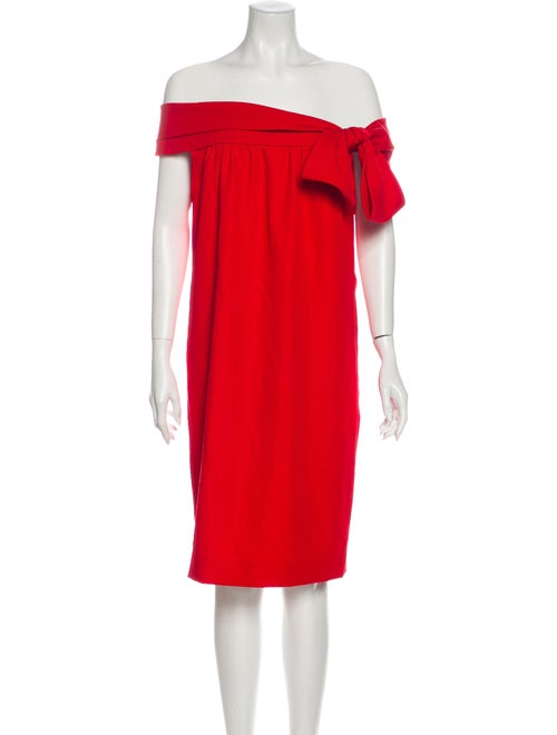 Valentino Off-The-Shoulder Knee-Length Dress Red