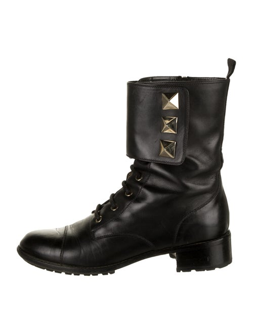 Valentino Rockstud Accents Leather Combat Boots Bl