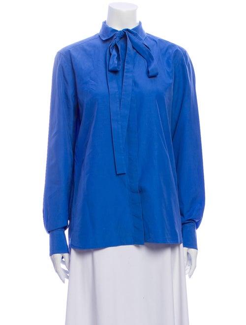 Valentino Tie Neck Long Sleeve Blouse Blue