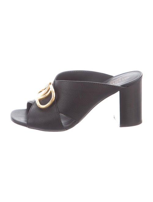 Valentino Leather Slides Black