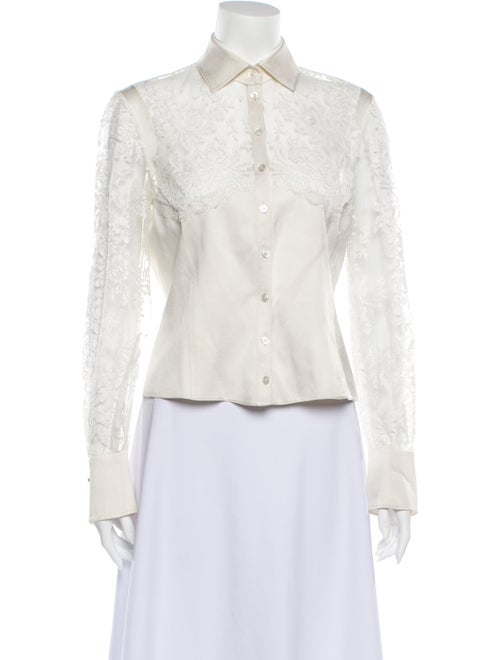 Valentino Vintage Long Sleeve Button-Up Top