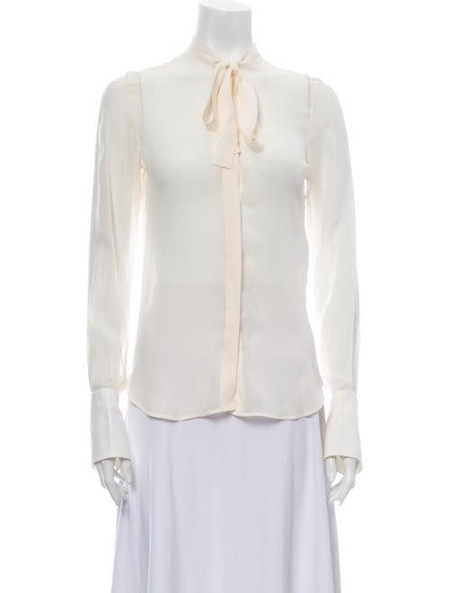 Valentino Silk Tie Neck Button-Up Top White