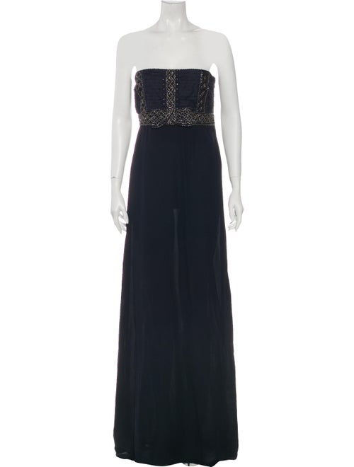 Valentino Silk Long Dress Blue