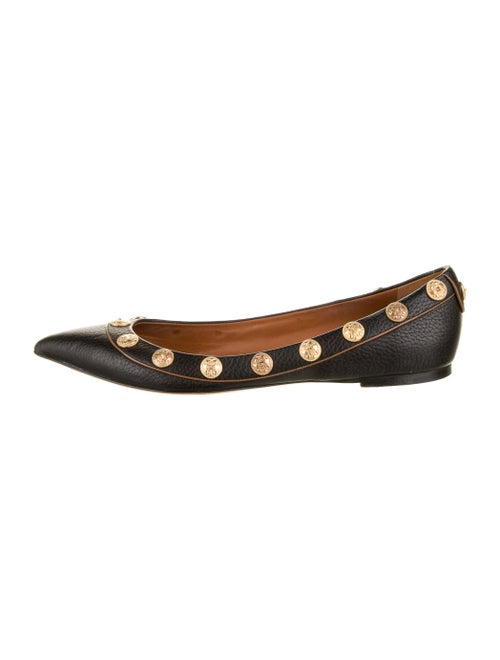 Valentino Leather Studded Accents Flats Black