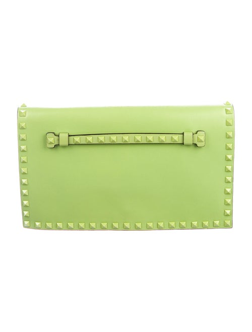 Valentino Leather Rockstud Clutch Green