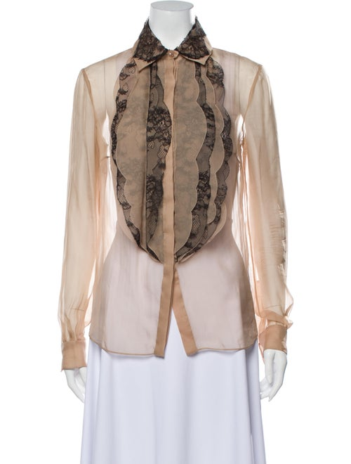 Valentino Lace Pattern Long Sleeve Button-Up Top