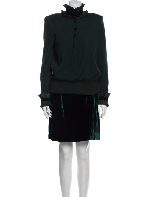 Valentino Vintage Pleated Accents Skirt Set Green