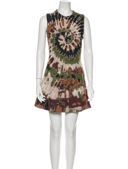 Valentino Printed Mini Dress Metallic