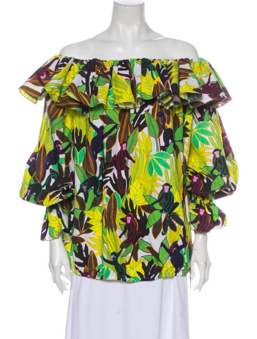 Valentino Printed Off-The-Shoulder Blouse w/ Tags