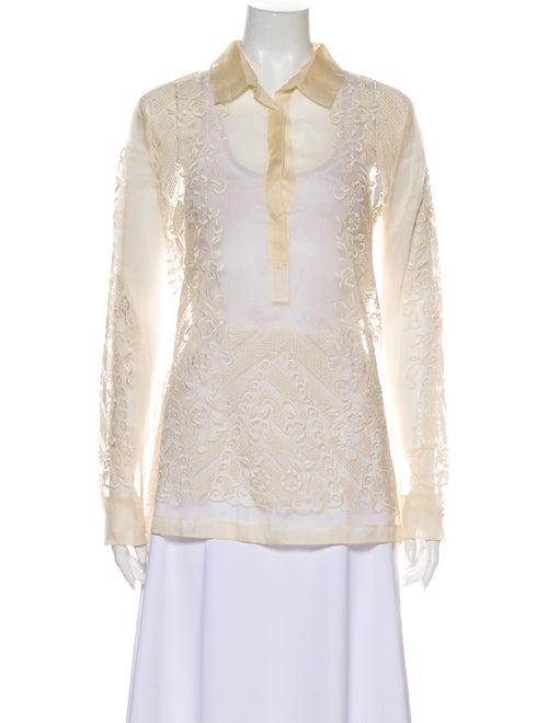 Valentino Silk Lace Pattern Blouse