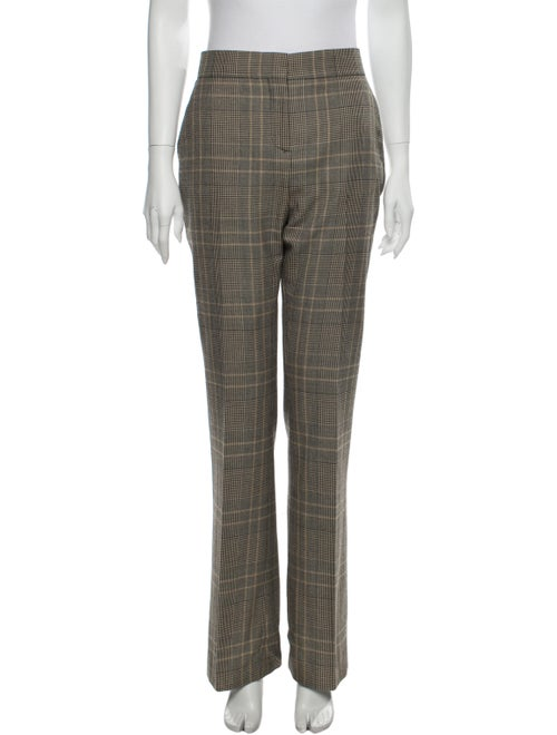 Valentino Plaid Print Wide Leg Pants Brown