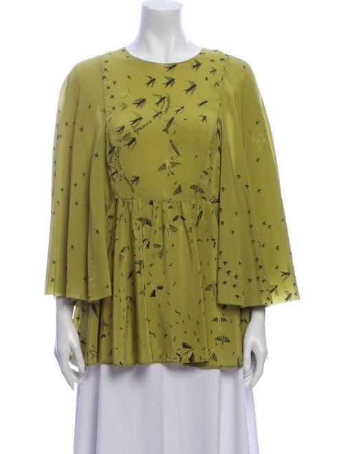 Valentino Silk Printed Blouse Green