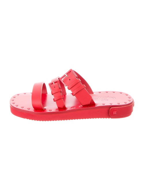 Valentino Leather Slides Red