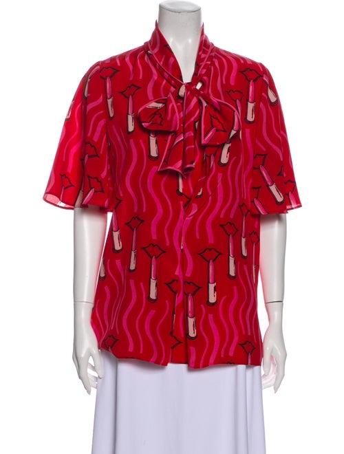 Valentino Silk Printed Blouse Red