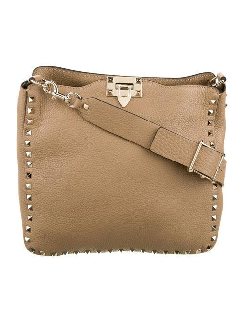 Valentino Leather Rockstud Messenger Bag Gold