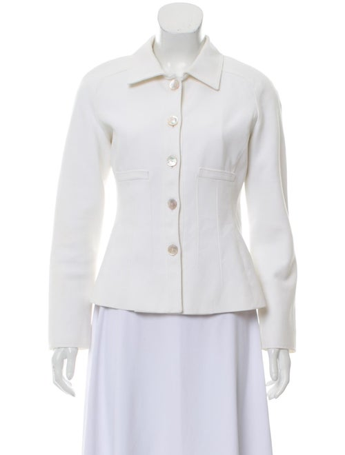 Valentino Long Sleeve Button-Up Jacket White