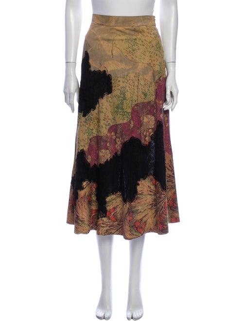 Valentino Suede Midi Length Skirt