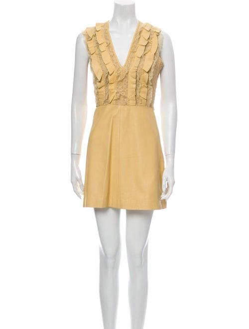Valentino V-Neck Mini Dress Yellow