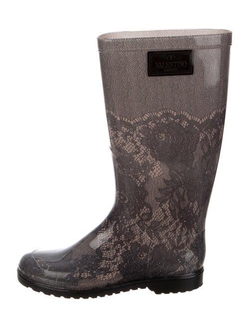 Valentino Rubber Printed Rain Boots Green