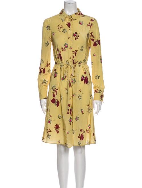 Valentino Silk Knee-Length Dress Yellow