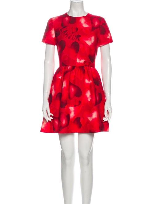 Valentino Printed Mini Dress Red