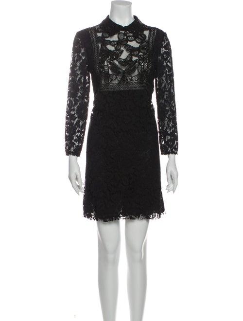 Valentino Lace Pattern Mini Dress Black