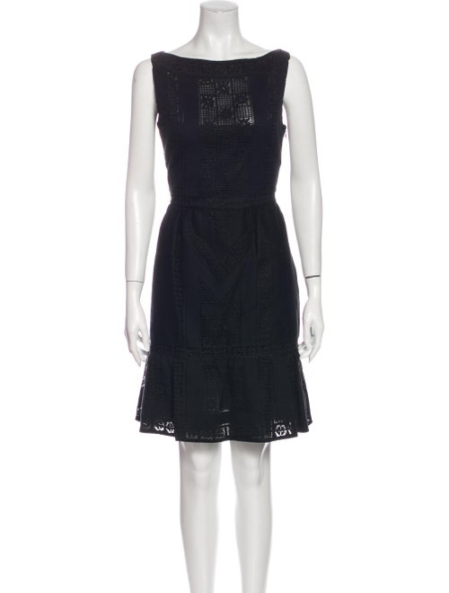 Valentino Bateau Neckline Mini Dress Black