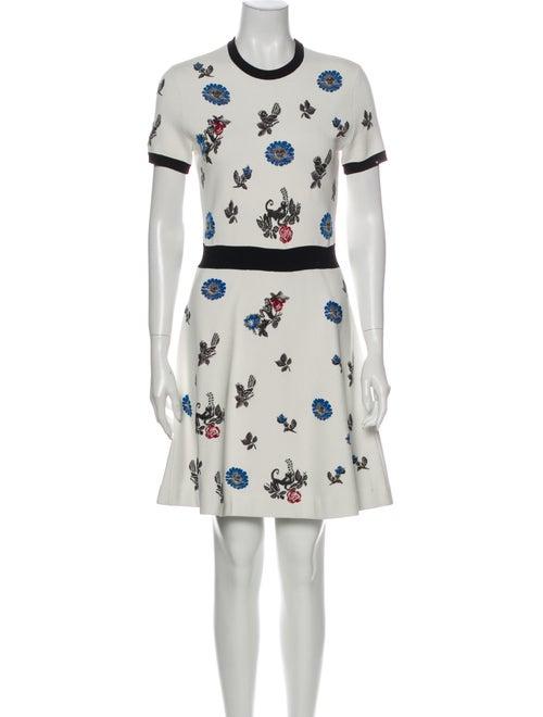 Valentino Floral Print Mini Dress Metallic