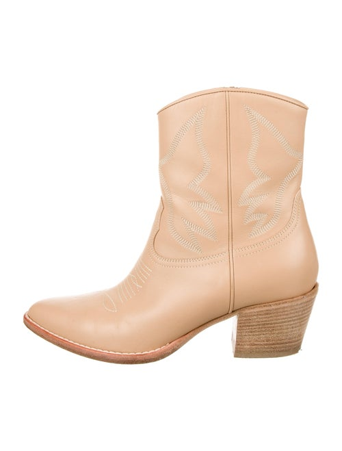 Valentino Leather Embroidered Accent Western Boots