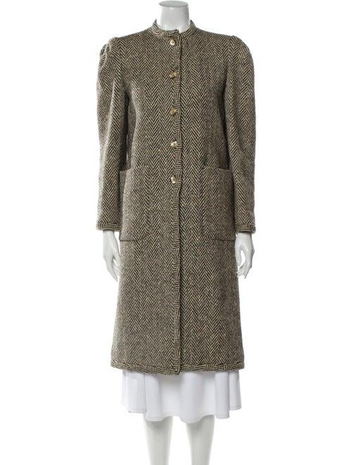 Valentino Vintage Tweed Pattern Coat Brown