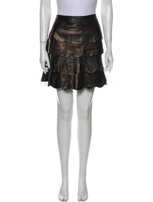 Valentino Leather Mini Skirt Metallic