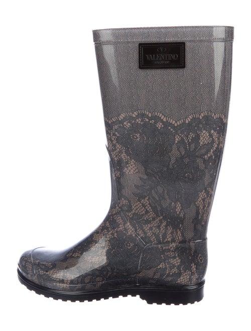 Valentino Printed Rain Boots Grey