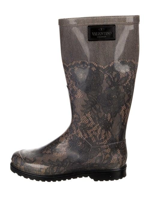 Valentino Rubber Printed Rain Boots Black