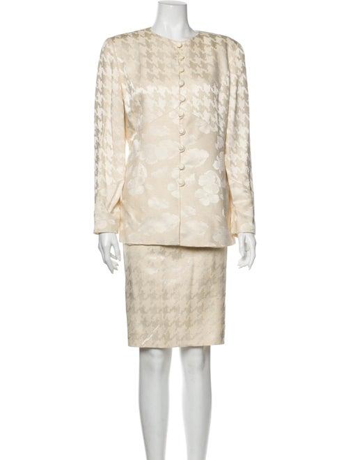 Valentino Silk Houndstooth Print Skirt Suit
