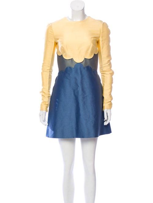 Valentino Scalloped Mini Dress Yellow