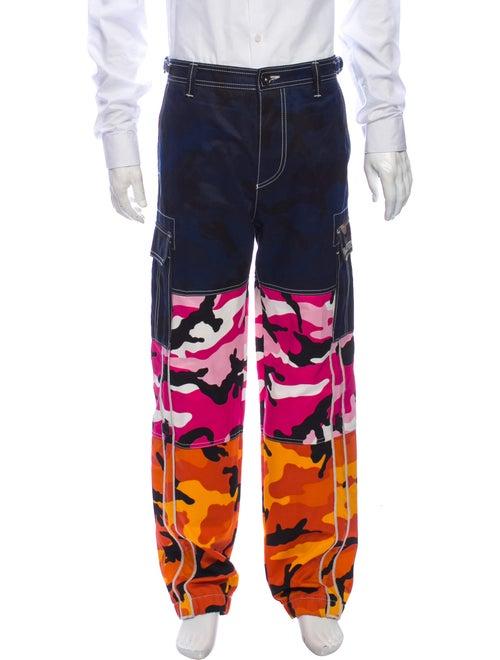 Valentino Printed Cargo Pants Blue
