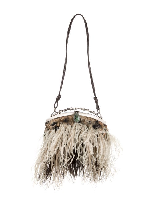 Valentino Ostrich Feather Evening Bag Silver