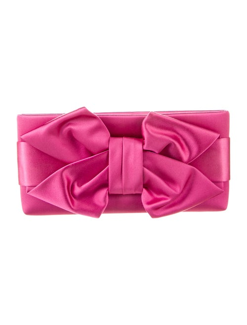 Valentino Bow Satin Clutch Pink