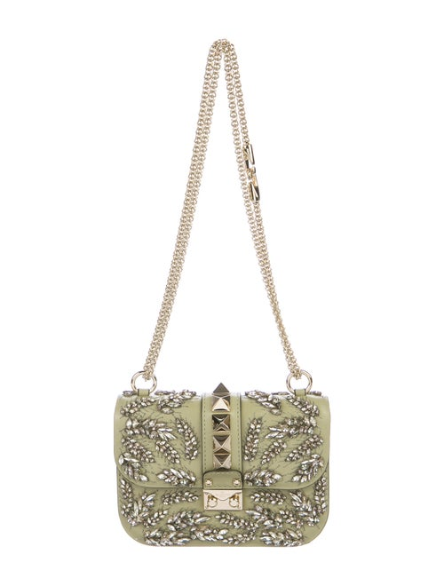 Valentino Embellished Small Glam Rock Bag Green