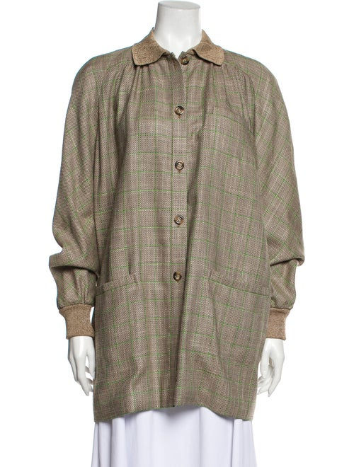 Valentino Vintage Plaid Print Coat Brown