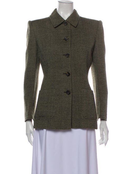Valentino Tweed Pattern Blazer Green