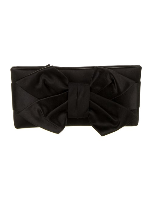 Valentino Satin Bow Clutch Black
