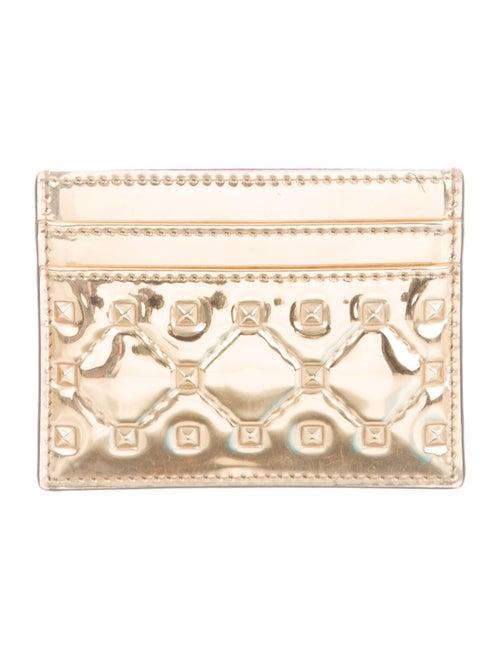 Valentino Metallic Leather Cardholder Metallic