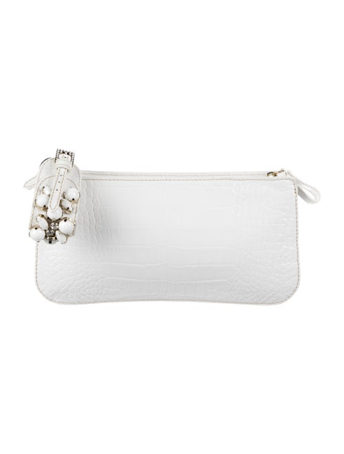 Valentino Embossed Leather Clutch Metallic