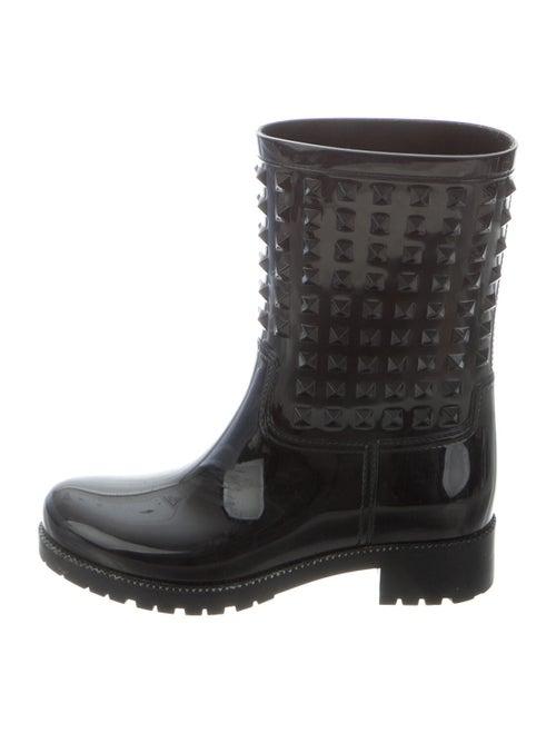 Valentino Rockstud Accents Rubber Rain Boots Black