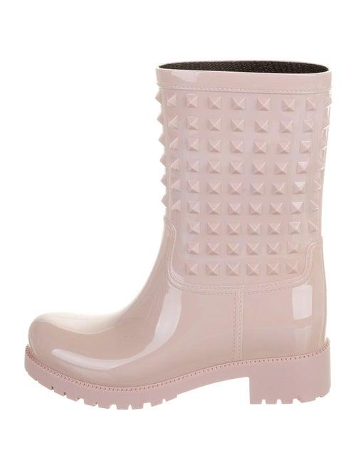 Valentino Rockstud Accents Rubber Rain Boots Pink
