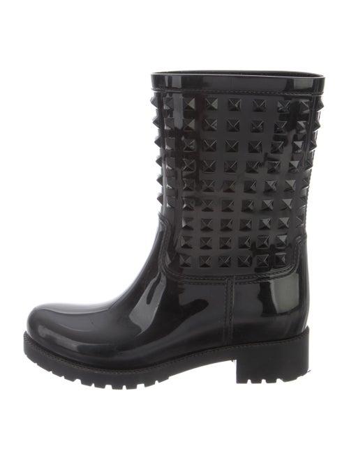 Valentino Rain Rockstud Accents Rain Boots Black